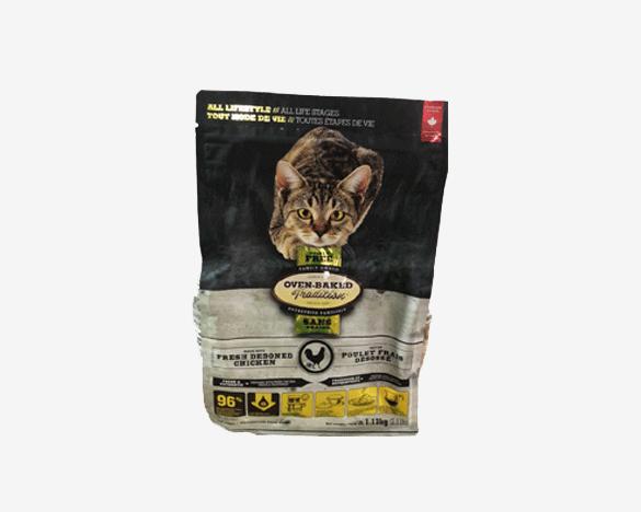 正品无标!奥云宝ovenbaked无谷鸡肉全猫粮 4.5kg(1.13kg*4包)