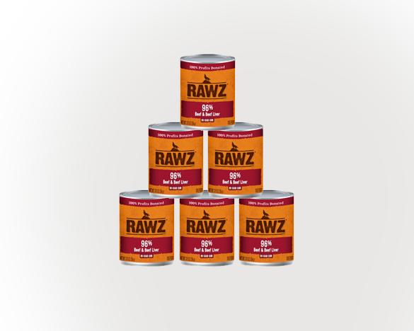 RAWZ罗斯96%含肉量牛肉无谷全犬罐354g*6罐