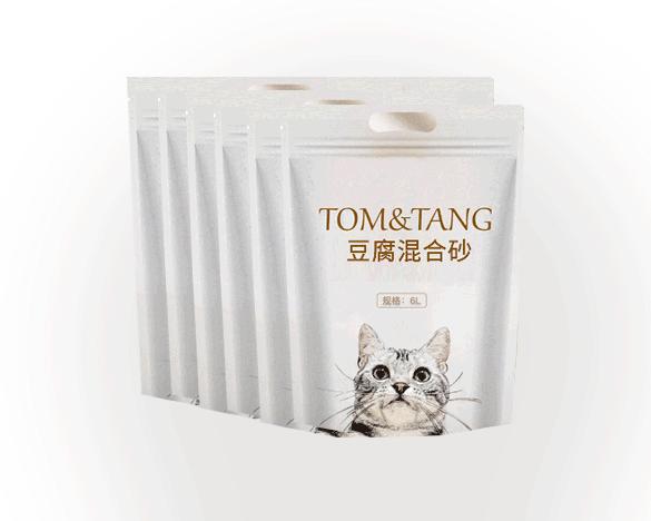 出口品质TOM&TANG豆腐膨润土混合猫砂6L*6包