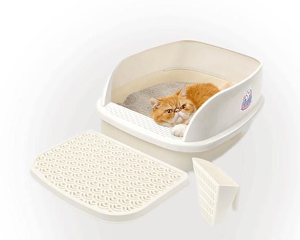 猫乐适半封闭式猫砂盆特大号15L(送踏板+猫砂铲)