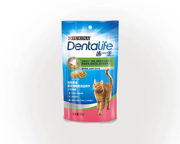 Dentalife 齿一生 猫咪洁齿零食 三文鱼味50g 减少牙结石小饼干成猫
